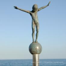 Бронзовый обнаженный мальчик статуя