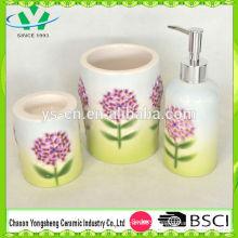 New Design Embossed Flower Bomb Ceramic Bathroom Set