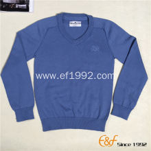 Boy's V Neck Pullover Sweater with Reverse Linking Design