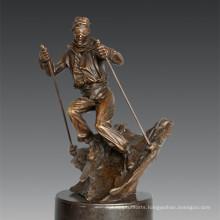 Sports Statue Player Skiing Bronze Sculpture, Nick TPE-791