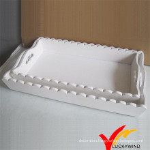 Handmade Tabletop Organizer Wooden Tray with Handles