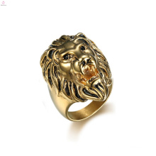 Statement Punk Stainless Animal Gold Lion Head Ring