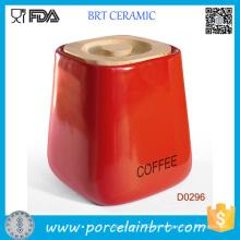 Tarro de almacenamiento de cerámica de la Plaza Roja con tapa de bambú