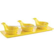 Tapas de cerâmica amarela com base para BS12092B