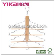 Деревянная вешалка для спасательных работ с 4-мя шинами брюк круглого сечения и 2 крючками