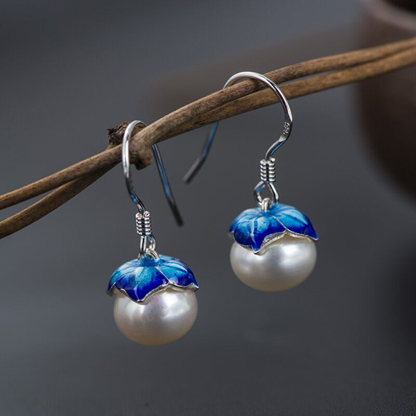 925 Sterling Silver Gilt Pearl Earrings
