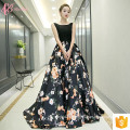 Guangzhou 2017 Mulheres de luxo Long Black Girls Party Dresses Chiffon Maxi Dresses