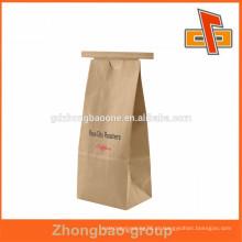 Saco de papel kraft biodegradável marrom / branco impresso personalizado com laço de lata