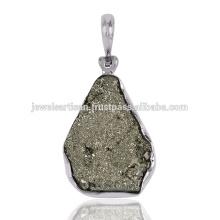 Pingente de prata esterlina natural de pirita Druzy Gemstone 925