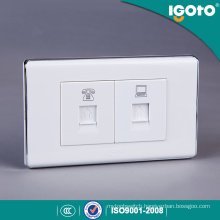118*74mm White Color Tel Socket with Data Socket