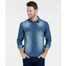 Custom-Made Men Long Sleeve Denim Causal Shirt