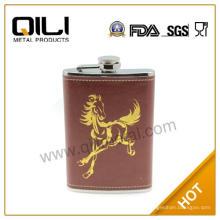 Logotipo personalizado cuero envuelto fresco cadera frascos regalos para él
