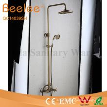 Antique Brass 2 Function Dule Cross Handle Shower Set Wall Mount Rainfall Shower Faucet