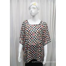 Senhora moda flor impressa poliéster seda chiffon t-shirt (yky2219)