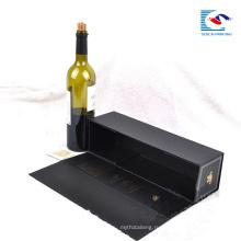 Высокое качество пользовательских складные черные картонные коробки красного вина упаковывая