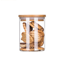 Wide Neck  Food Packaging Glass Storage Jar With Wooden Cork Glass Jar With Seal