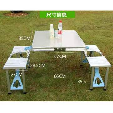 Table pliante en aluminium portative