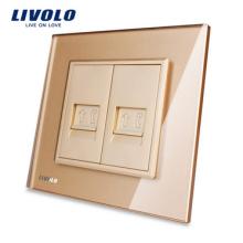 Livolo livraison gratuite 2 gangs de panneau de verre cristal panneau électrique tel VL-C792T (TEL)