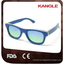handmade China wholesale uv400 mirror lens polarized skateboard wood sunglasses
