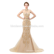 Sexy collection 2018 luxury evening dress halter design mermaid ladies long evening party wear gown with heavy beaded