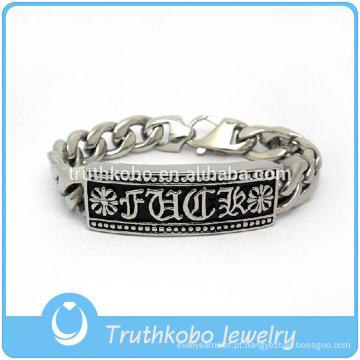 TKB-JB0147 Cristo prata punk com cristal pavimentada diamante artificial e fundição fleur de lis pulseiras de aço inoxidável 316L