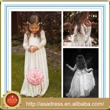 FGTC5 bastante alta calidad nuevo estilo de los niños de la boda vestido de fiesta de manga larga de encaje vestido de niña
