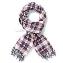 Fashion 100 cotton plaid young girl long scarf