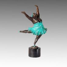 Dancer Statue Squabby Madam Bronze Sculpture TPE-357