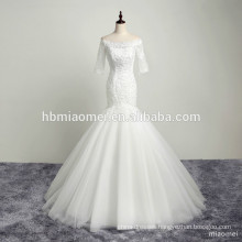 2017 custom design boat neck sequins lace appliqued beauty bridal wedding dress mermaid
