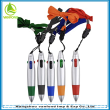 Promo mini plastic multi color ball pen with lanyard