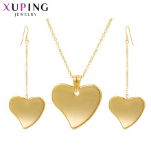 S-411 Xuping joyas al por mayor golden 2 gram gold necklace set+dubai gold jewellery designs woman set