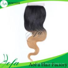 Ombre Color cierre del cordón pelo Remy cabello humano