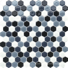 Hexagonal Black and Grey Crystal Mosaic for Decoration