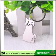 Chaveiro relativo à promoção personalizado do gato do metal do presente da propaganda da fábrica de China