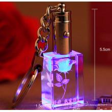 Keyring de vidro feito sob encomenda do cristal do laser 3D