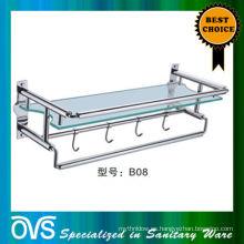 estantería para lavabo de baño de vidrio y acero inoxidable: B08
