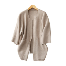 womens fashion batwing sleeves knitting coat thick warm cashmere winter O neck overcoats