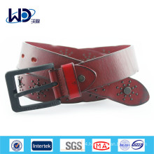Red Color Pin Buckle Genuine Leather Belt For Men