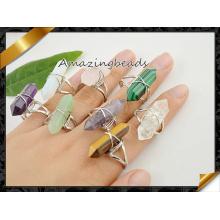 Смешанные камни Дважды регулируемые кольца, Посеребренные кольца друида-кварца / агата / тигрового глазка (FR001)