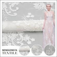 China benutzerdefinierte hochwertige gestrickte Voile Polyester bestickte Stoffe für Brautkleider