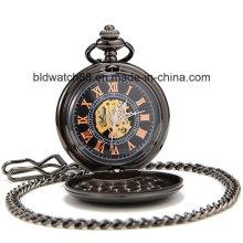 Reloj de bolsillo negro completo de los hombres de los números de la flor de la vendimia del vintage para el regalo