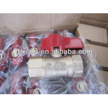 natural copper gas cock valves with thread ends red butterfly handle CSA UL