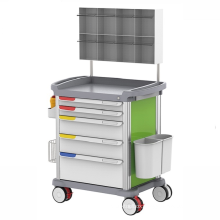 plastic medical movable crash endoscopy equipment drawer trolley patient treatment hospital emergency cart for sale