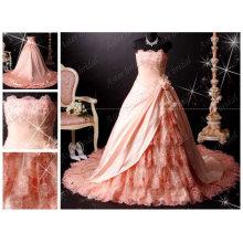 Vestido verdadero de Quinceanera de la foto Vestido de boda exquisito del color de rosa del cordón del nuevo diseño de la calidad RB062
