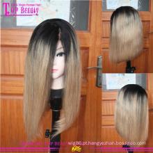 Muito macio forte não transformados perucas cheias do laço virgem Europeu 14 polegadas #1b/27 bob para mulheres negras
