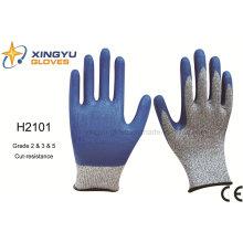 Hppe Nitrile recubierto de corte de resistencia guante de trabajo de seguridad (H2101)