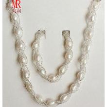 Natural Freshwater Rice Pearl Necklace Bracelet Set
