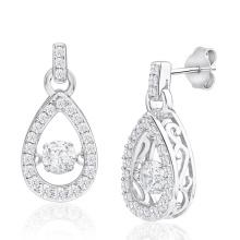 925 Silber Tropfen baumeln Ohrringe Tanzen Diamant Schmuck