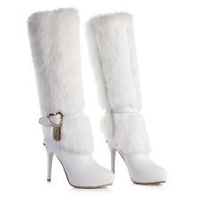 Ladies Fur Boots With Heels And Fur Ladies Snow Winter White Knee High Boots Dress Beauty Shoes for Women