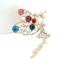 Factory Price Colorful Rhinestone Angel Design Lady Brooches BH26